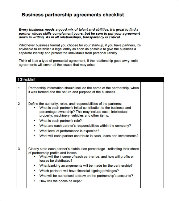 Sample Partnership Agreement Template Mandegarfo