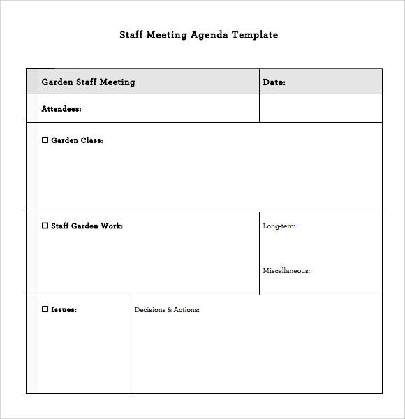 Sample staff meeting agenda template maxwellsz