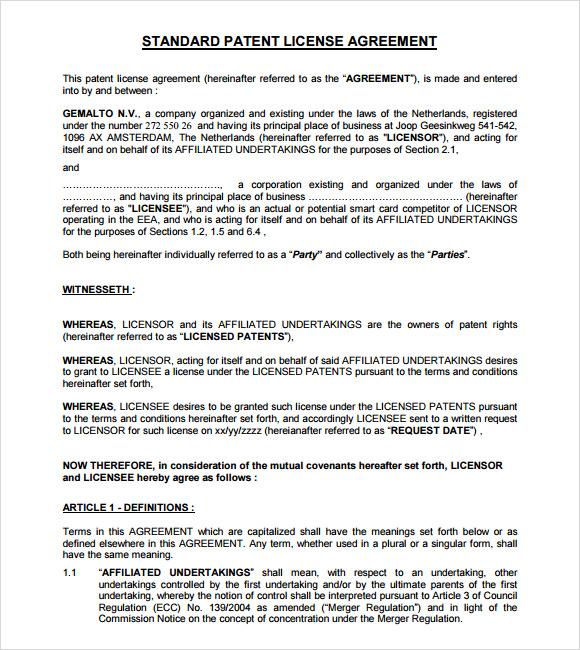 licensing agreement 7 free samples examples format sample templates. Black Bedroom Furniture Sets. Home Design Ideas