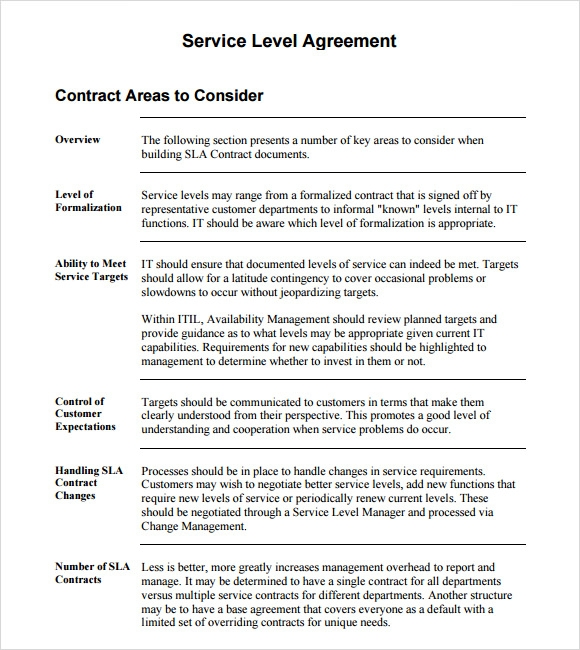 Standard Service Contract Standard Service Level Agreement Sample