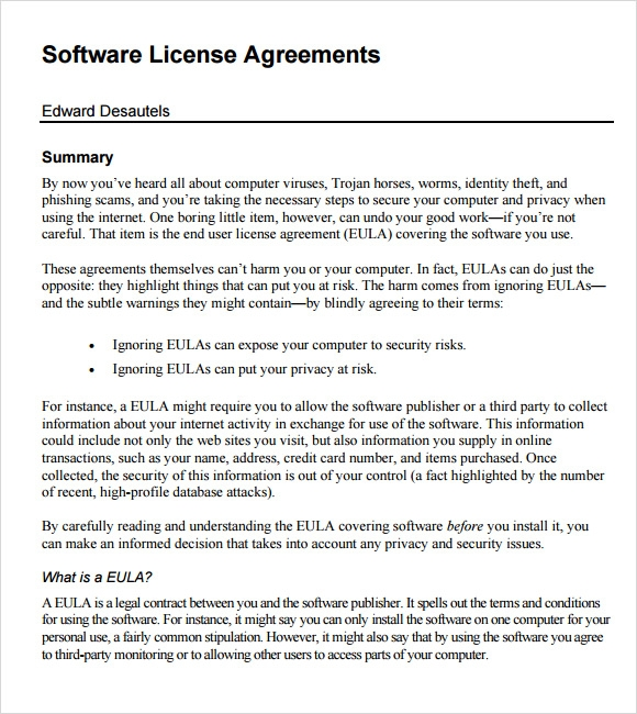 Sample Software License Agreement 8 Example Format