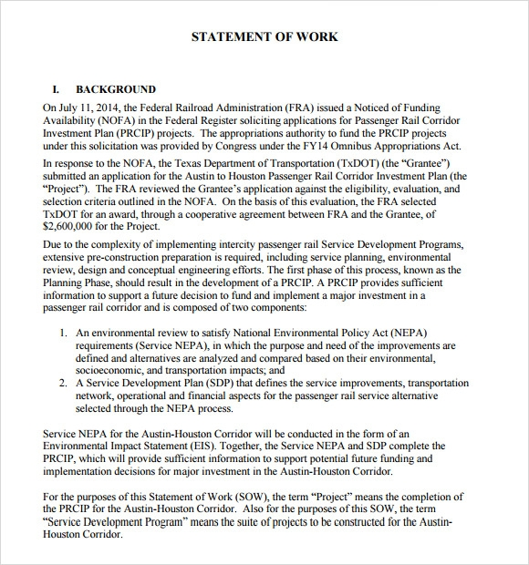 10 statement of work samples sample templates for Construction statement of work template