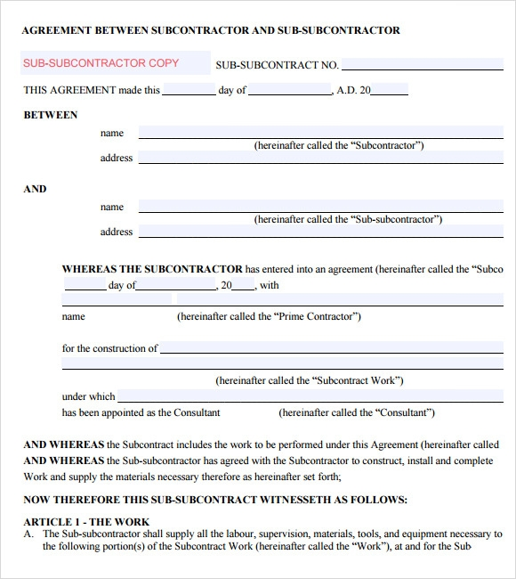 8 subcontractor agreement samples sample templates for Subcontractors agreement template