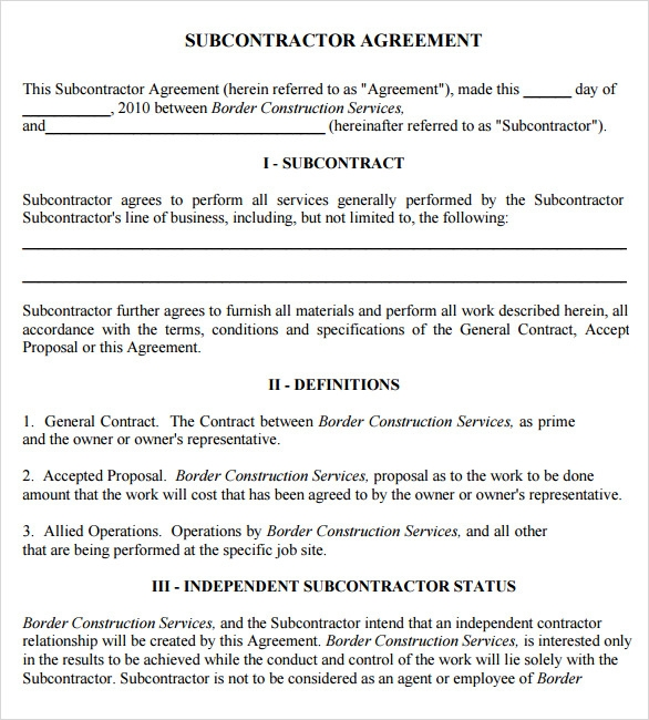 Sample Subcontractor Agreement 7 Example Format – Subcontractor Agreements