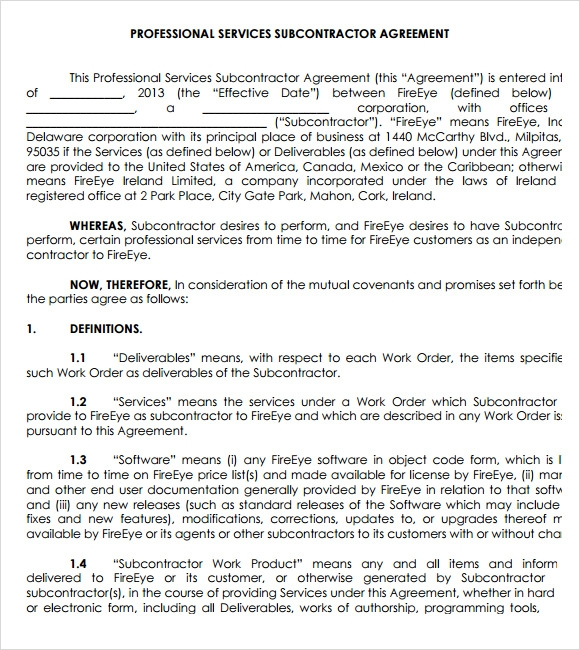 Subcontracting Agreement Image Collections Agreement Letter Format
