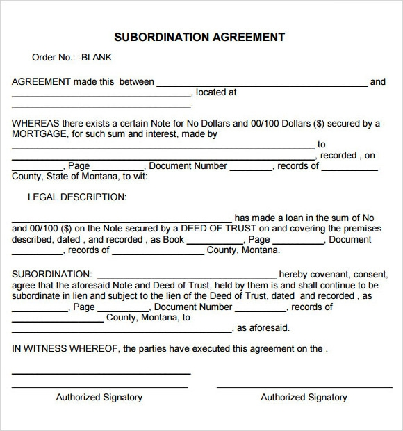 Subordination Agreement Example