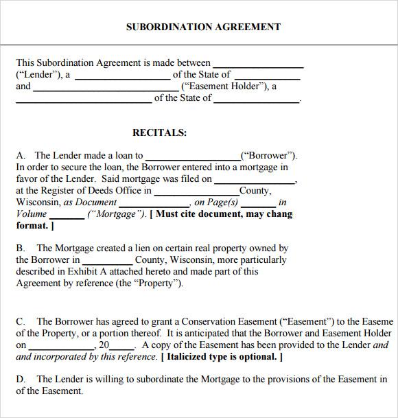 subordination agreement format