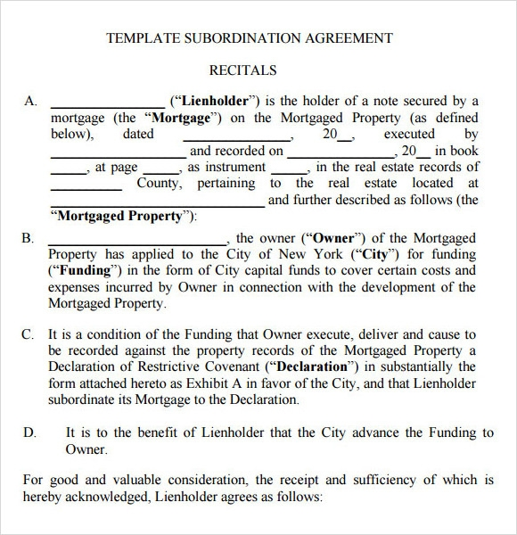 Sample Subordination Agreement  U2013 8  Example  Format