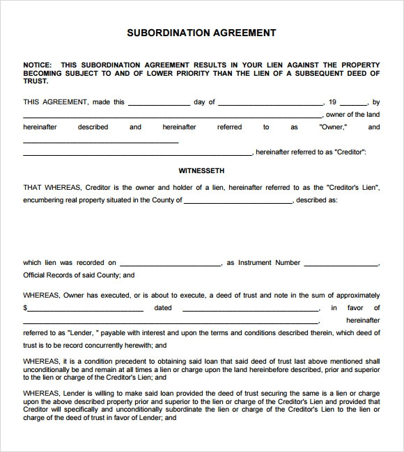 High Quality Subordination Agreement Sample