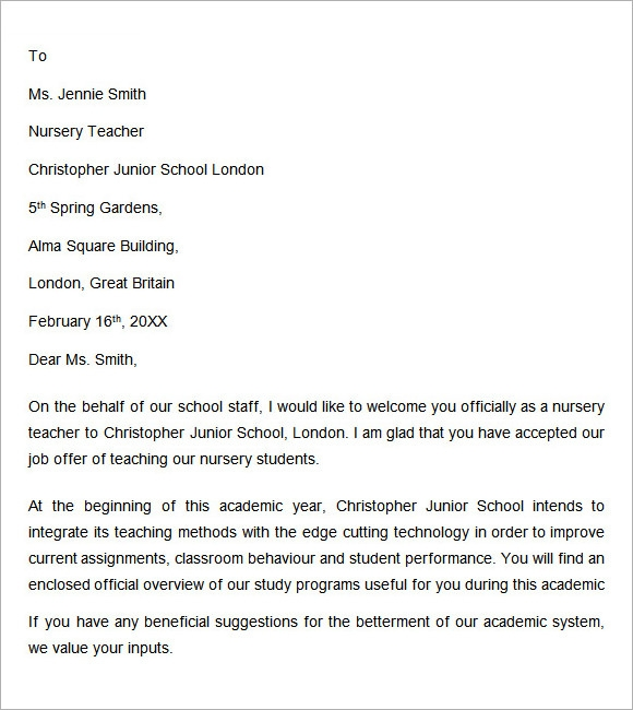 teacher welcome letter