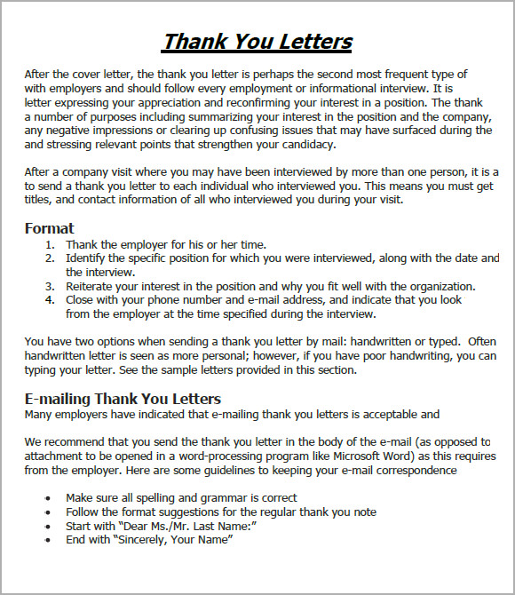 Sample Thank You Email   Example Format