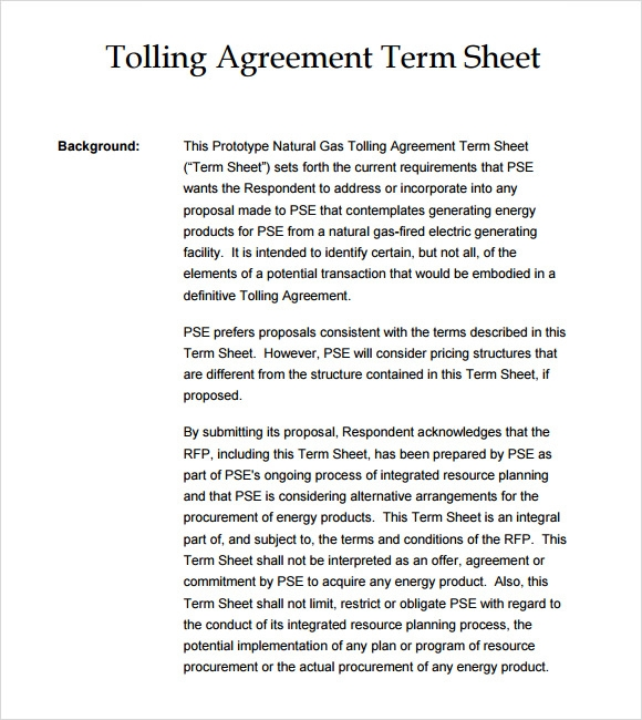 Sample Tolling Agreement   Example Format