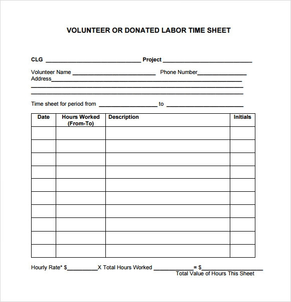 volunteer timesheet template free