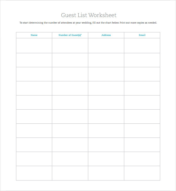 Wedding Guest List Template Free
