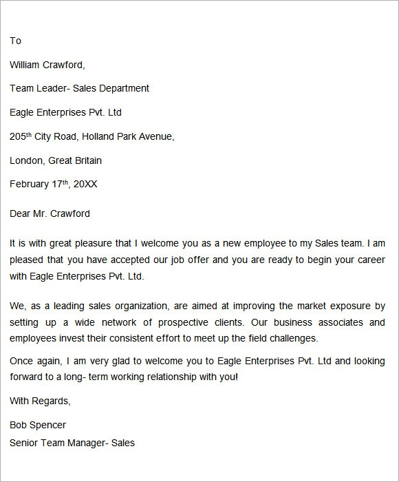 Sample New Employee Wel e Letter Ideas