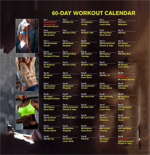 workout calendar plan