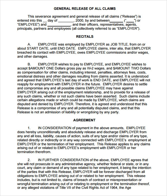 Sample Severance Agreement   Example Format