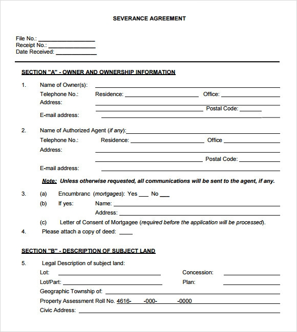 Sample Severance Agreement 6 Example Format – Severance Agreement Template