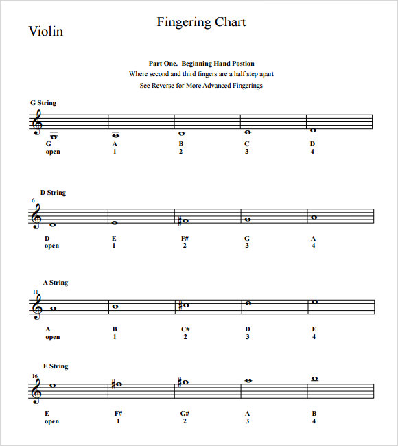 free violin fingering chart template