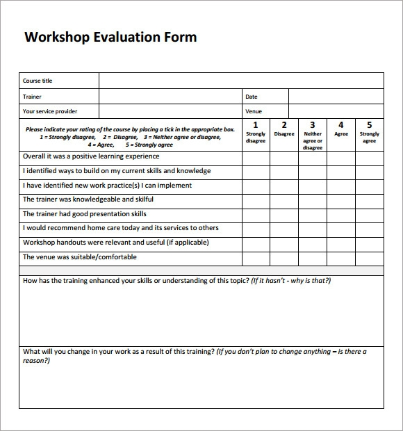 Seminar Evaluation Form  Resume Template Sample
