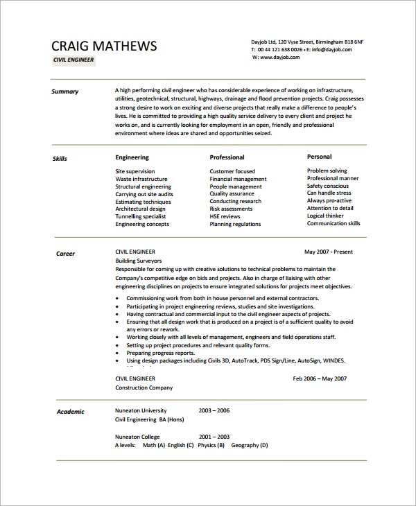 Sample Engineering Cv Template   Free Documents Download In Pdf