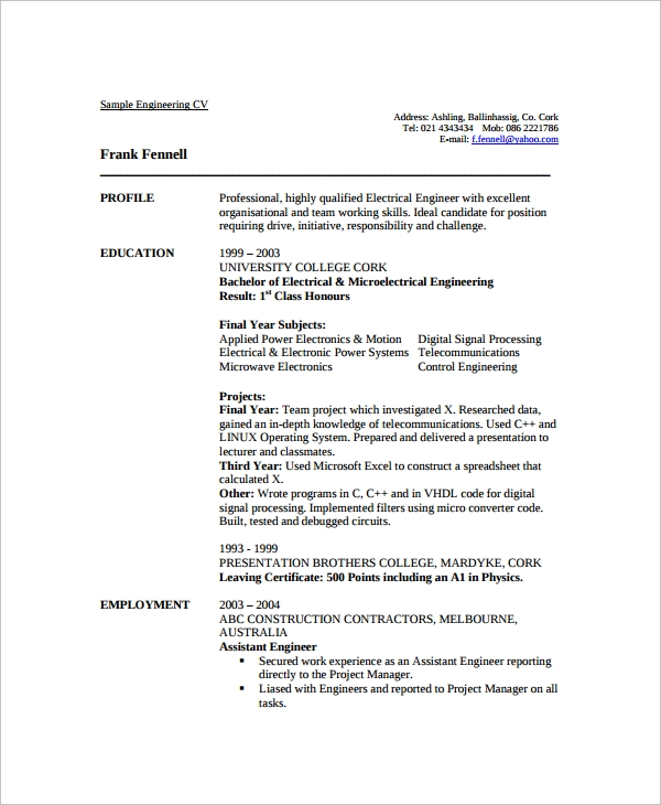Sample Engineering CV Template 7 Free Documents Download in PDF – Engineering CV Template
