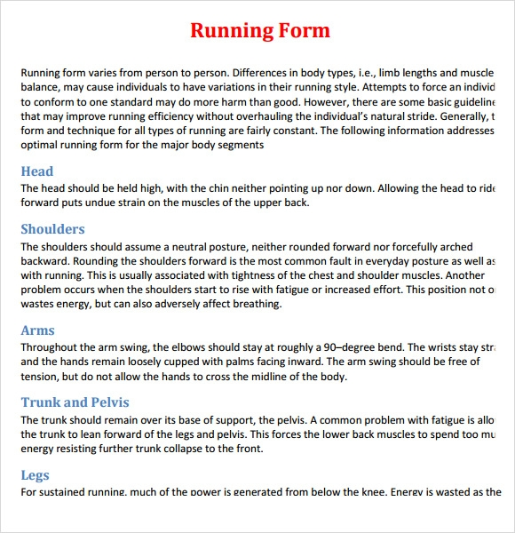 Sample Proper Running Form   Free Documents Download In Pdf