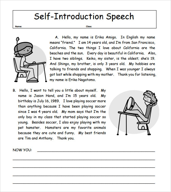 sample self introduction speech examples documents in pdf self introduction speech example