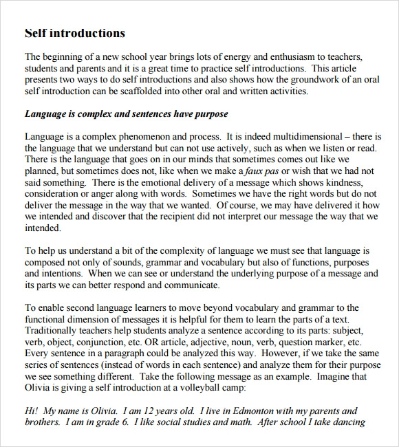 self introduction essay english Self-introduction i am roy tsang and i i will communicate in english i am a self-motivated person and i am willing to learn about other countries.