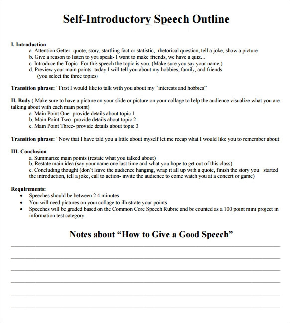 sample self introduction speech examples documents in pdf self introduction speech outline