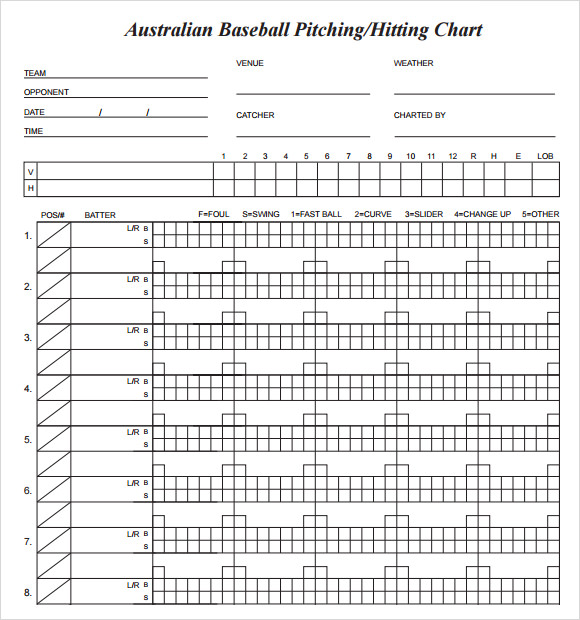 baseball pitching chart template download