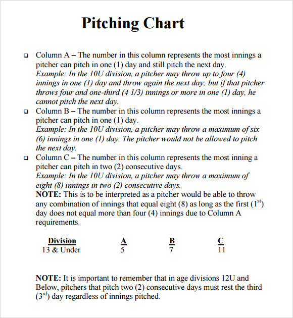 pitching chart template download