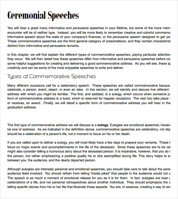 Sample Commemorative Speech Examples   Documents In