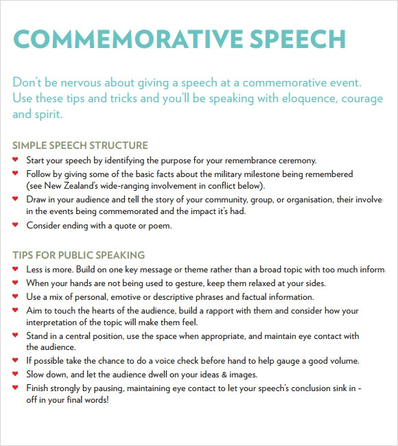 Sample Commemorative Speech Examples   Documents In Pdf