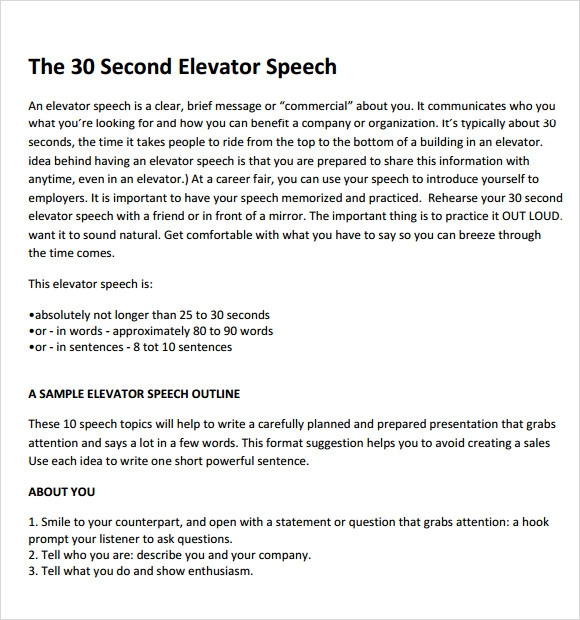 8 elevator speech samples sample templates for 30 second pitch template
