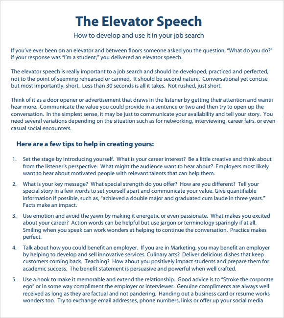 Sample Elevator Speech Examples   7  Documents in PDF 2pbFA8fx
