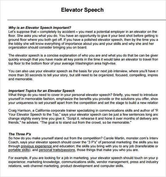 Sample Elevator Speech Examples   7  Documents in PDF DTvU78WX