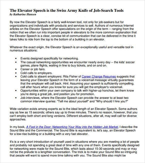 elevator speech example pdf