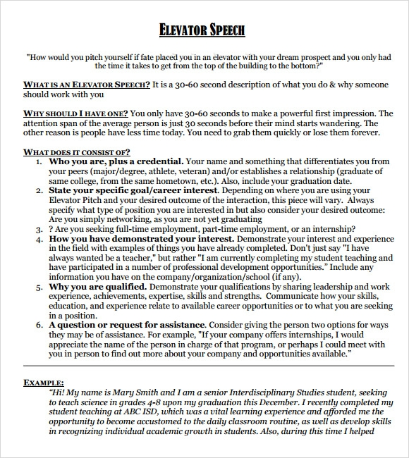 sample elevator speech examples 7 documents in pdf. Black Bedroom Furniture Sets. Home Design Ideas