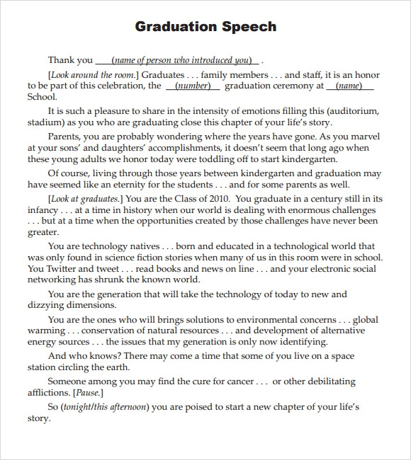 Sample Graduation Speech - 5+ Documents In Pdf
