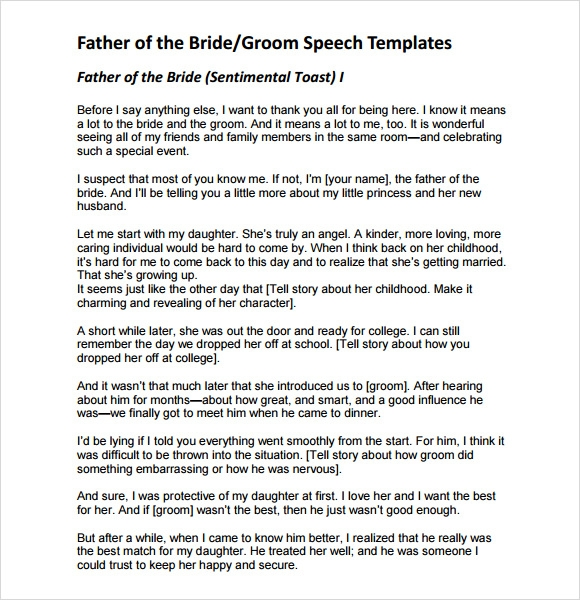wedding speeches example father bride