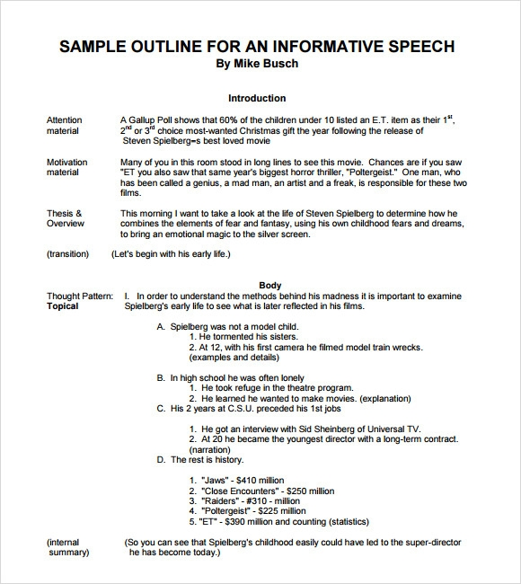 Speech Outline Example. 1 Informative Speeches Informative