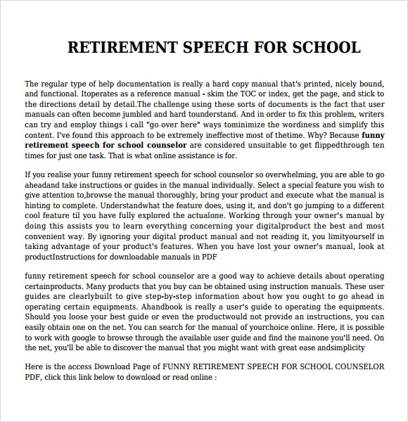 retirement speech Retirement speeches are a wonderful celebration of achievement and a life of contribution it's easy to personalize our retirement speeches as you want.