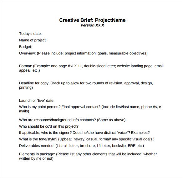sample creative brief template