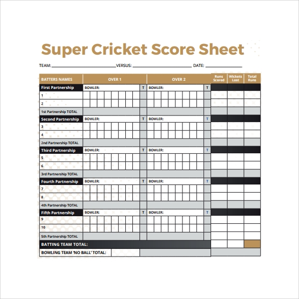 super cricket score sheet