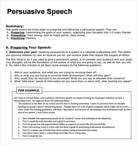 Sample Persuasive Speech   Documents In Pdf