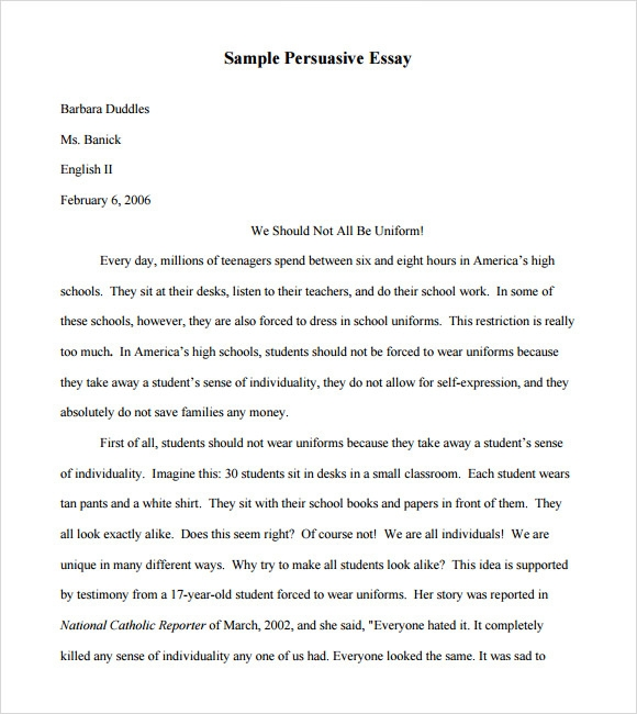Sample of speech essay