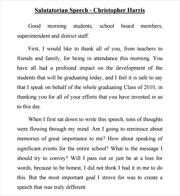 Sample Salutatorian Speech   Documents In Pdf