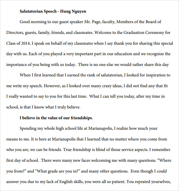 9+ Salutatorian Speech Samples – PDF | Sample Templates