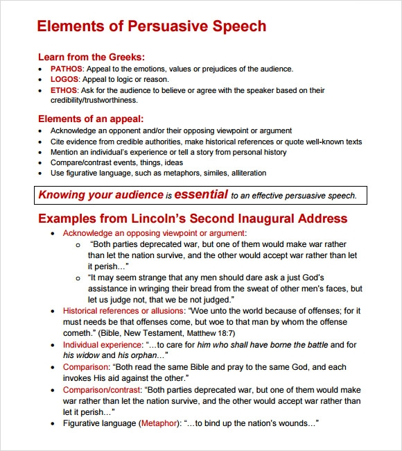 Written persuasive speech